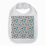 Blue Colorful Cats Silhouettes Pattern Bib