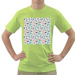 Blue Colorful Cats Silhouettes Pattern Green T-Shirt