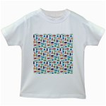 Blue Colorful Cats Silhouettes Pattern Kids White T-Shirts