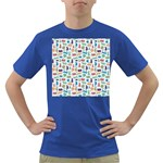 Blue Colorful Cats Silhouettes Pattern Dark T-Shirt