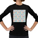 Blue Colorful Cats Silhouettes Pattern Women s Long Sleeve Dark T-Shirts