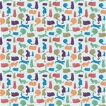 Blue Colorful Cats Silhouettes Pattern Canvas 16  x 16