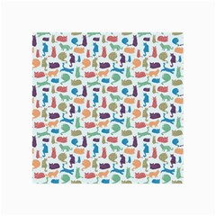 Blue Colorful Cats Silhouettes Pattern Canvas 36  X 48