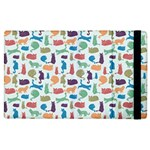 Blue Colorful Cats Silhouettes Pattern Apple iPad 2 Flip Case