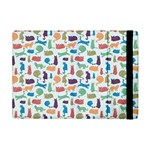 Blue Colorful Cats Silhouettes Pattern Apple iPad Mini Flip Case