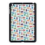 Blue Colorful Cats Silhouettes Pattern Apple iPad Mini Case (Black)