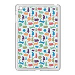 Blue Colorful Cats Silhouettes Pattern Apple iPad Mini Case (White)