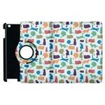 Blue Colorful Cats Silhouettes Pattern Apple iPad 2 Flip 360 Case
