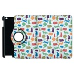 Blue Colorful Cats Silhouettes Pattern Apple iPad 3/4 Flip 360 Case