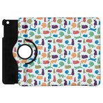 Blue Colorful Cats Silhouettes Pattern Apple iPad Mini Flip 360 Case
