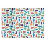 Blue Colorful Cats Silhouettes Pattern Samsung Galaxy Tab 10.1  P7500 Flip Case