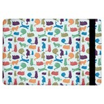 Blue Colorful Cats Silhouettes Pattern iPad Air Flip
