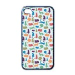 Blue Colorful Cats Silhouettes Pattern Apple iPhone 4 Case (Black)