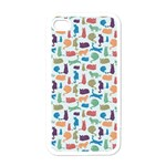 Blue Colorful Cats Silhouettes Pattern Apple iPhone 4 Case (White)