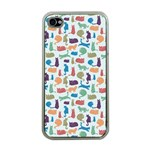 Blue Colorful Cats Silhouettes Pattern Apple iPhone 4 Case (Clear)