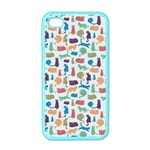 Blue Colorful Cats Silhouettes Pattern Apple iPhone 4 Case (Color)