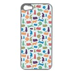 Blue Colorful Cats Silhouettes Pattern Apple iPhone 5 Case (Silver)