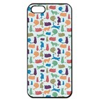 Blue Colorful Cats Silhouettes Pattern Apple iPhone 5 Seamless Case (Black)
