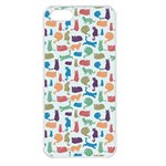 Blue Colorful Cats Silhouettes Pattern Apple iPhone 5 Seamless Case (White)
