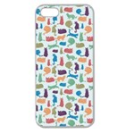 Blue Colorful Cats Silhouettes Pattern Apple Seamless iPhone 5 Case (Clear)