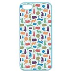 Blue Colorful Cats Silhouettes Pattern Apple Seamless iPhone 5 Case (Color)