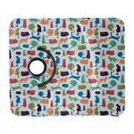 Blue Colorful Cats Silhouettes Pattern Samsung Galaxy S  III Flip 360 Case