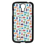 Blue Colorful Cats Silhouettes Pattern Samsung Galaxy S4 I9500/ I9505 Case (Black)