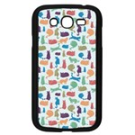 Blue Colorful Cats Silhouettes Pattern Samsung Galaxy Grand DUOS I9082 Case (Black)