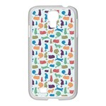Blue Colorful Cats Silhouettes Pattern Samsung GALAXY S4 I9500/ I9505 Case (White)