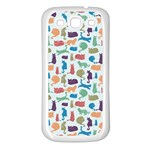Blue Colorful Cats Silhouettes Pattern Samsung Galaxy S3 Back Case (White)