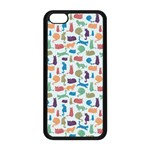 Blue Colorful Cats Silhouettes Pattern Apple iPhone 5C Seamless Case (Black)