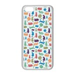 Blue Colorful Cats Silhouettes Pattern Apple iPhone 5C Seamless Case (White)