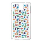 Blue Colorful Cats Silhouettes Pattern Samsung Galaxy Note 3 N9005 Case (White)