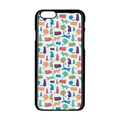 Blue Colorful Cats Silhouettes Pattern Apple Iphone 6 Black Enamel Case