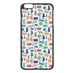 Blue Colorful Cats Silhouettes Pattern Apple iPhone 6 Plus Black Enamel Case