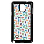 Blue Colorful Cats Silhouettes Pattern Samsung Galaxy Note 4 Case (Black)