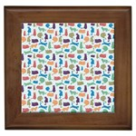 Blue Colorful Cats Silhouettes Pattern Framed Tiles