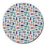 Blue Colorful Cats Silhouettes Pattern Round Mousepads