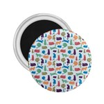 Blue Colorful Cats Silhouettes Pattern 2.25  Magnets