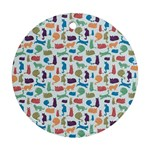 Blue Colorful Cats Silhouettes Pattern Ornament (Round)