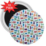 Blue Colorful Cats Silhouettes Pattern 3  Magnets (10 pack)