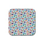 Blue Colorful Cats Silhouettes Pattern Rubber Square Coaster (4 pack)