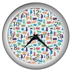 Blue Colorful Cats Silhouettes Pattern Wall Clocks (Silver)