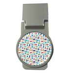Blue Colorful Cats Silhouettes Pattern Money Clips (Round)