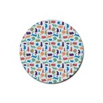 Blue Colorful Cats Silhouettes Pattern Rubber Coaster (Round)