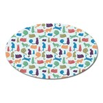 Blue Colorful Cats Silhouettes Pattern Oval Magnet