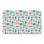 Blue Colorful Cats Silhouettes Pattern Magnet (Rectangular)