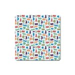 Blue Colorful Cats Silhouettes Pattern Square Magnet