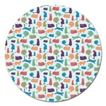 Blue Colorful Cats Silhouettes Pattern Magnet 5  (Round)