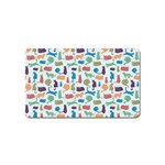 Blue Colorful Cats Silhouettes Pattern Magnet (Name Card)